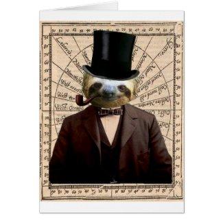 Sloth Man Victorian Steampunk Anthropomorphic Greeting Card