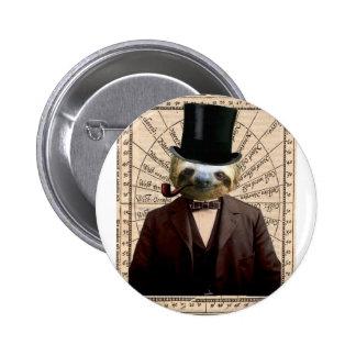 Sloth Man Victorian Steampunk Anthropomorphic Pinback Button