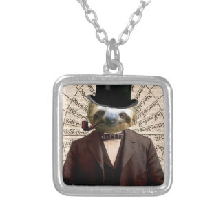 Sloth Man Victorian Steampunk Anthropomorphic Square Pendant Necklace