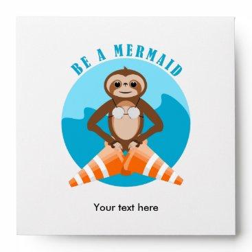 Sloth Mermaid Traffic Cone Envelope