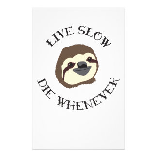 Sloth Motto - Live Slow & Die Whenever Personalized Stationery
