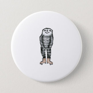 Sloth on Roller Skates Button