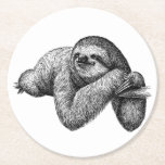 """Sloth on tree round paper coaster<br><div class=""""desc"""">Sloth on a tree background</div>"""