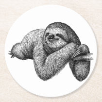 Sloth on tree round paper coaster