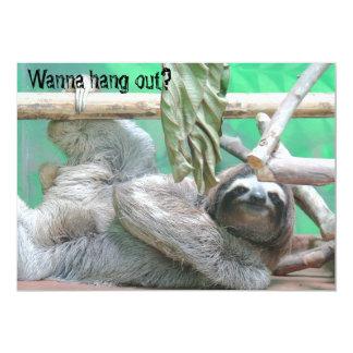 "Sloth Party Invitations 5"" X 7"" Invitation Card"