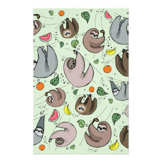 Sloth Party Stationery