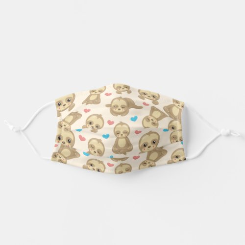 Sloth Pattern Lazy Sloths Slow Sloths Hearts Adult Cloth Face Mask