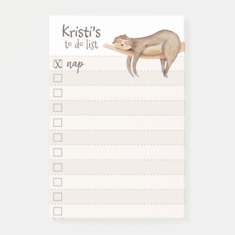 Sloth Personalized To-Do List Post-it Notes