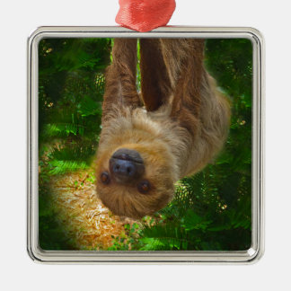 Sloth Rainforest Gifts Metal Ornament