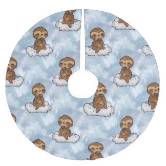 Sloth Relaxing on Cloud Brushed Polyester Tree Skirt