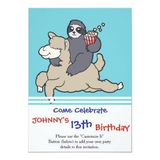 Sloth Riding a lama cartoon Invitation
