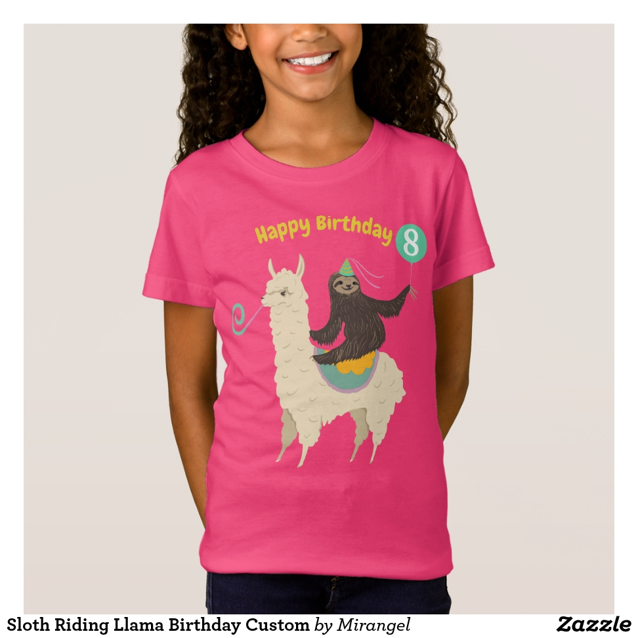 Sloth Riding Llama Birthday Custom T-Shirt - Comfortable Kids' Long Sleeve T-Shirt Designs