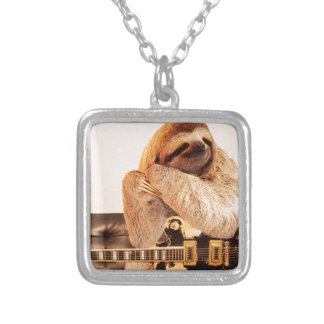 Sloth Rockstar Silver Plated Necklace
