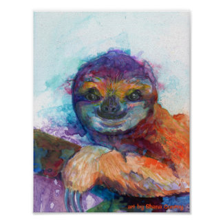 Sloth smile - watercolor poster
