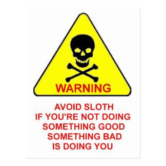 sloth warning postcard
