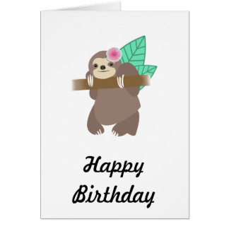 Sloth With Flower Digital Illustration Card