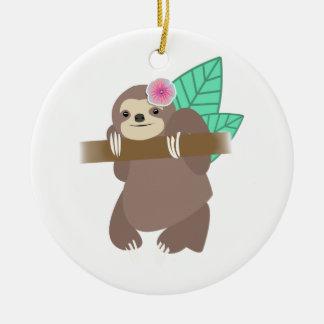 Sloth With Flower Digital Illustration Ceramic Ornament