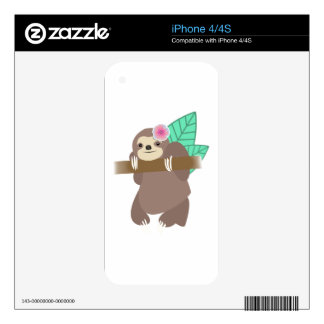 Sloth With Flower Digital Illustration iPhone 4S Decal