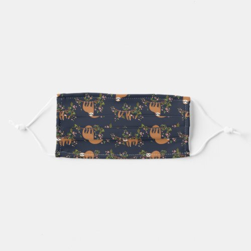 Sloths  Flowers Pattern Adult Cloth Face Mask