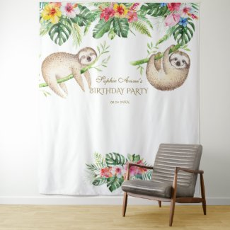 Sloth Tropical Floral Birthday Photo Booth Prop Tapestry