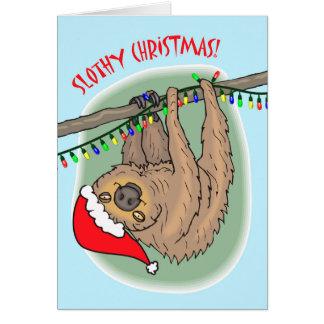 Slothy Christmas, Christmas Sloth and Lights Card