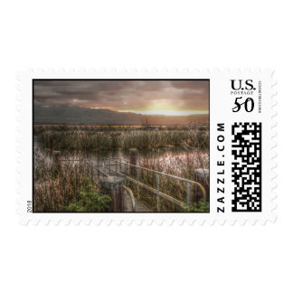 Slough and Mountains at Sunrise Postage Stamps