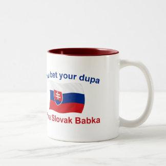 Slovak Babka-Bet Your Dupa Two-Tone Coffee Mug