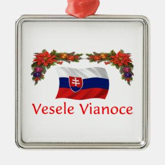 Slovak Christmas Square Metal Christmas Ornament