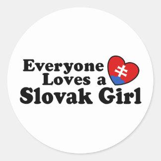 Slovak Girl Classic Round Sticker