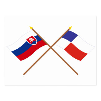 Slovakia and Banska Bystrica Crossed Flags Postcard