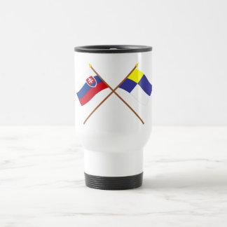 Slovakia and Bratislava Crossed Flags 15 Oz Stainless Steel Travel Mug