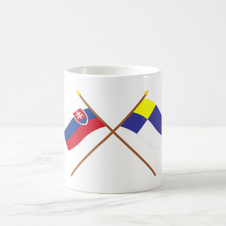 Slovakia and Bratislava Crossed Flags Classic White Coffee Mug