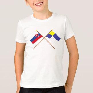 Slovakia and Bratislava Crossed Flags T-Shirt