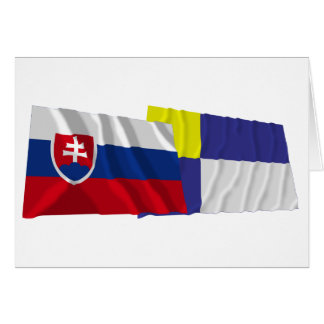 Slovakia and Bratislava Waving Flags Card