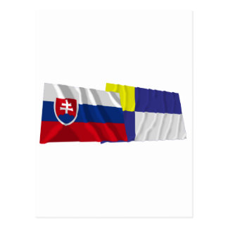 Slovakia and Bratislava Waving Flags Postcard