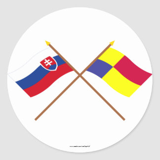 Slovakia and Kosice Crossed Flags Classic Round Sticker