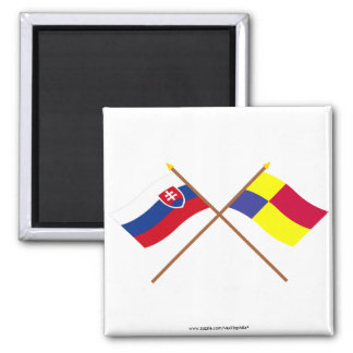 Slovakia and Kosice Crossed Flags Magnet