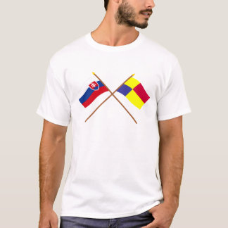 Slovakia and Kosice Crossed Flags T-Shirt