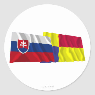 Slovakia and Kosice Waving Flags Classic Round Sticker