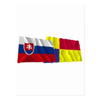 Slovakia and Kosice Waving Flags Postcard