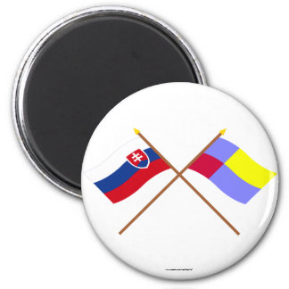 Slovakia and Nitra Crossed Flags Magnet