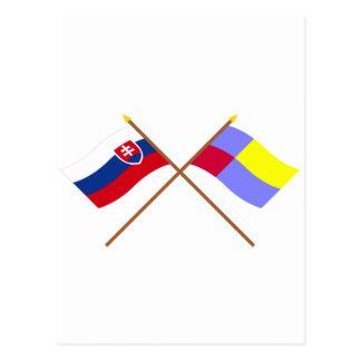 Slovakia and Nitra Crossed Flags Postcard
