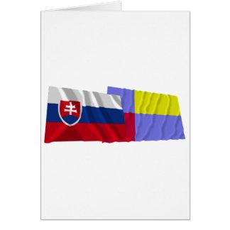 Slovakia and Nitra Waving Flags Card
