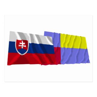 Slovakia and Nitra Waving Flags Postcard