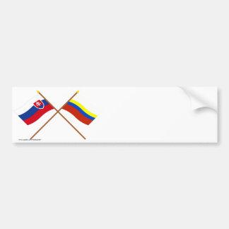 Slovakia and Presov Crossed Flags Bumper Sticker