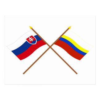Slovakia and Presov Crossed Flags Postcard