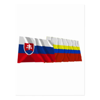Slovakia and Presov Waving Flags Postcard