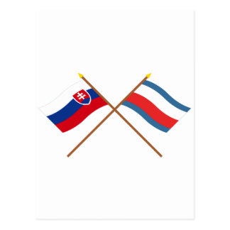 Slovakia and Trencin Crossed Flags Postcard