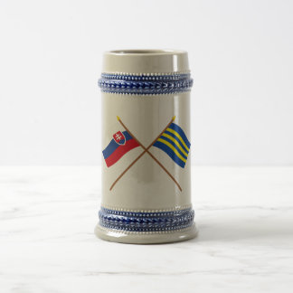 Slovakia and Trnava Crossed Flags Beer Stein