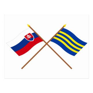 Slovakia and Trnava Crossed Flags Postcard